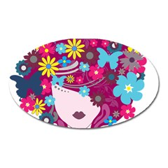 Beautiful Gothic Woman With Flowers And Butterflies Hair Clipart Oval Magnet