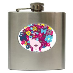 Beautiful Gothic Woman With Flowers And Butterflies Hair Clipart Hip Flask (6 Oz)