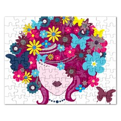 Beautiful Gothic Woman With Flowers And Butterflies Hair Clipart Rectangular Jigsaw Puzzl