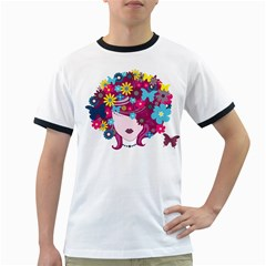 Beautiful Gothic Woman With Flowers And Butterflies Hair Clipart Ringer T-Shirts