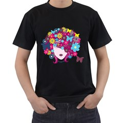 Beautiful Gothic Woman With Flowers And Butterflies Hair Clipart Men s T-Shirt (Black) (Two Sided)