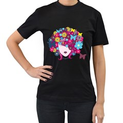 Beautiful Gothic Woman With Flowers And Butterflies Hair Clipart Women s T-Shirt (Black) (Two Sided)