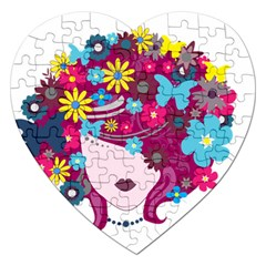 Beautiful Gothic Woman With Flowers And Butterflies Hair Clipart Jigsaw Puzzle (Heart)