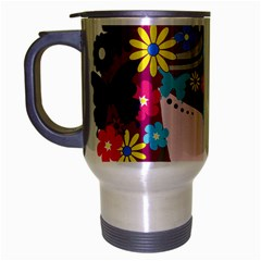 Beautiful Gothic Woman With Flowers And Butterflies Hair Clipart Travel Mug (silver Gray)