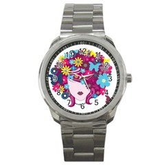 Beautiful Gothic Woman With Flowers And Butterflies Hair Clipart Sport Metal Watch