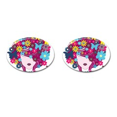 Beautiful Gothic Woman With Flowers And Butterflies Hair Clipart Cufflinks (oval)