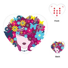 Beautiful Gothic Woman With Flowers And Butterflies Hair Clipart Playing Cards (Heart)
