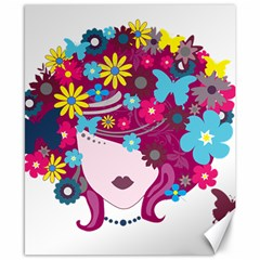 Beautiful Gothic Woman With Flowers And Butterflies Hair Clipart Canvas 8  X 10