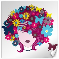 Beautiful Gothic Woman With Flowers And Butterflies Hair Clipart Canvas 16  x 16