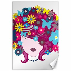 Beautiful Gothic Woman With Flowers And Butterflies Hair Clipart Canvas 24  X 36