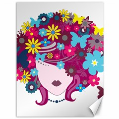 Beautiful Gothic Woman With Flowers And Butterflies Hair Clipart Canvas 36  x 48