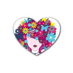 Beautiful Gothic Woman With Flowers And Butterflies Hair Clipart Rubber Coaster (Heart)