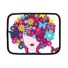 Beautiful Gothic Woman With Flowers And Butterflies Hair Clipart Netbook Case (small)