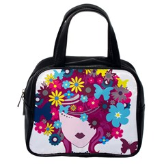 Beautiful Gothic Woman With Flowers And Butterflies Hair Clipart Classic Handbags (one Side)