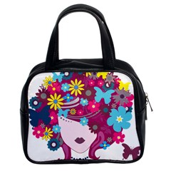 Beautiful Gothic Woman With Flowers And Butterflies Hair Clipart Classic Handbags (2 Sides)
