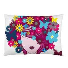 Beautiful Gothic Woman With Flowers And Butterflies Hair Clipart Pillow Case
