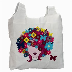 Beautiful Gothic Woman With Flowers And Butterflies Hair Clipart Recycle Bag (one Side)
