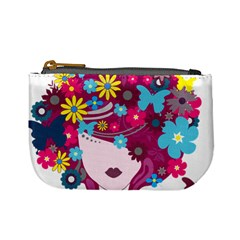 Beautiful Gothic Woman With Flowers And Butterflies Hair Clipart Mini Coin Purses