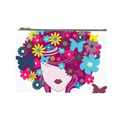 Beautiful Gothic Woman With Flowers And Butterflies Hair Clipart Cosmetic Bag (large)
