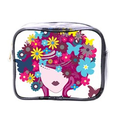 Beautiful Gothic Woman With Flowers And Butterflies Hair Clipart Mini Toiletries Bags