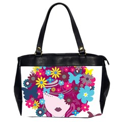 Beautiful Gothic Woman With Flowers And Butterflies Hair Clipart Office Handbags (2 Sides)