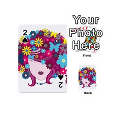Beautiful Gothic Woman With Flowers And Butterflies Hair Clipart Playing Cards 54 (Mini)