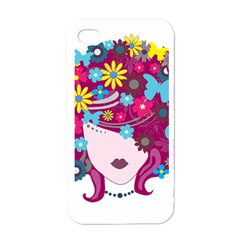 Beautiful Gothic Woman With Flowers And Butterflies Hair Clipart Apple Iphone 4 Case (white)
