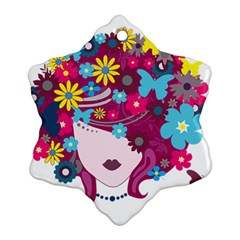Beautiful Gothic Woman With Flowers And Butterflies Hair Clipart Ornament (Snowflake)