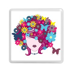 Beautiful Gothic Woman With Flowers And Butterflies Hair Clipart Memory Card Reader (Square)