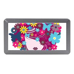 Beautiful Gothic Woman With Flowers And Butterflies Hair Clipart Memory Card Reader (mini)