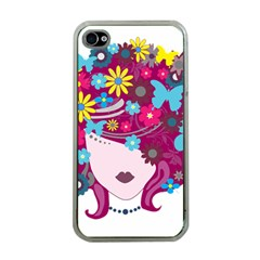 Beautiful Gothic Woman With Flowers And Butterflies Hair Clipart Apple Iphone 4 Case (clear)