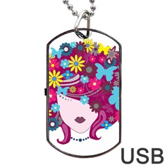 Beautiful Gothic Woman With Flowers And Butterflies Hair Clipart Dog Tag USB Flash (One Side)