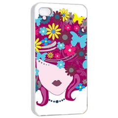 Beautiful Gothic Woman With Flowers And Butterflies Hair Clipart Apple Iphone 4/4s Seamless Case (white)
