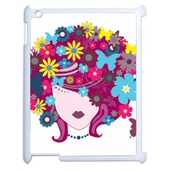 Beautiful Gothic Woman With Flowers And Butterflies Hair Clipart Apple Ipad 2 Case (white)