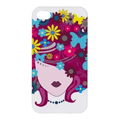 Beautiful Gothic Woman With Flowers And Butterflies Hair Clipart Apple iPhone 4/4S Hardshell Case