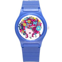 Beautiful Gothic Woman With Flowers And Butterflies Hair Clipart Round Plastic Sport Watch (S)