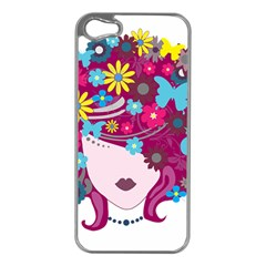 Beautiful Gothic Woman With Flowers And Butterflies Hair Clipart Apple Iphone 5 Case (silver)