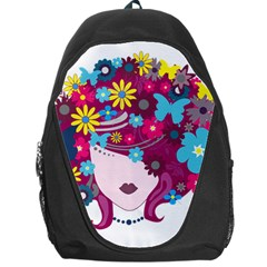 Beautiful Gothic Woman With Flowers And Butterflies Hair Clipart Backpack Bag