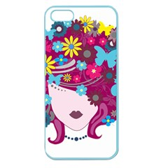 Beautiful Gothic Woman With Flowers And Butterflies Hair Clipart Apple Seamless Iphone 5 Case (color)