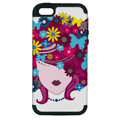 Beautiful Gothic Woman With Flowers And Butterflies Hair Clipart Apple iPhone 5 Hardshell Case (PC+Silicone)