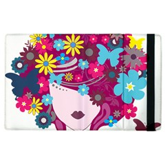 Beautiful Gothic Woman With Flowers And Butterflies Hair Clipart Apple iPad 2 Flip Case