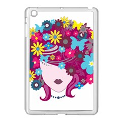 Beautiful Gothic Woman With Flowers And Butterflies Hair Clipart Apple Ipad Mini Case (white)