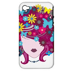 Beautiful Gothic Woman With Flowers And Butterflies Hair Clipart Apple iPhone 4/4S Hardshell Case (PC+Silicone)