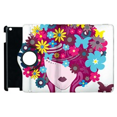 Beautiful Gothic Woman With Flowers And Butterflies Hair Clipart Apple iPad 3/4 Flip 360 Case