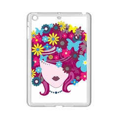 Beautiful Gothic Woman With Flowers And Butterflies Hair Clipart Ipad Mini 2 Enamel Coated Cases