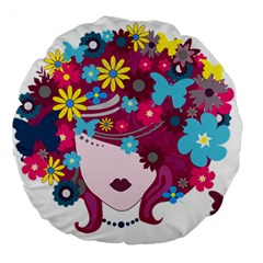 Beautiful Gothic Woman With Flowers And Butterflies Hair Clipart Large 18  Premium Round Cushions
