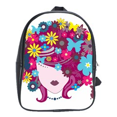 Beautiful Gothic Woman With Flowers And Butterflies Hair Clipart School Bags (XL)