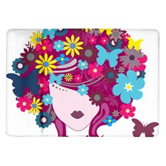 Beautiful Gothic Woman With Flowers And Butterflies Hair Clipart Samsung Galaxy Tab 10 1  P7500 Flip Case