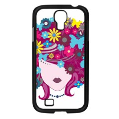 Beautiful Gothic Woman With Flowers And Butterflies Hair Clipart Samsung Galaxy S4 I9500/ I9505 Case (black)