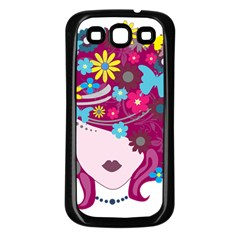 Beautiful Gothic Woman With Flowers And Butterflies Hair Clipart Samsung Galaxy S3 Back Case (Black)